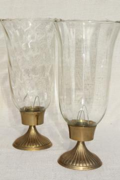 pair solid brass candlesticks, vintage candle holders optic glass hurricane shades