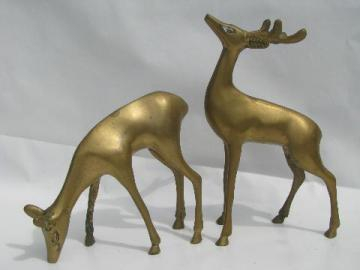 pair solid brass deer figures, 70s vintage brassware sculptures