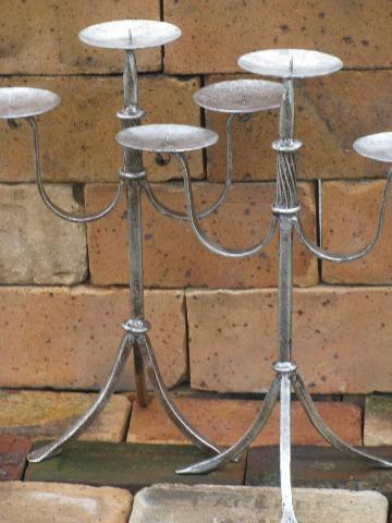 pair tall wrought iron candelabra candlesticks, antique silver finish