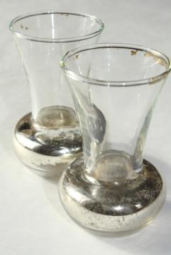 pair tiny old glass violet vases w/ shabby silvered finish, vintage vase set