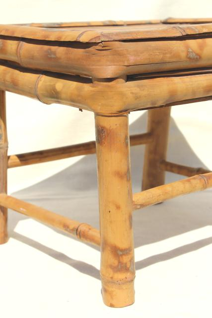 pair tiny vintage bamboo stools, little low end tables or plant stands