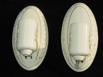 pair vintage 30s Porcelier floral sconces with the orig label