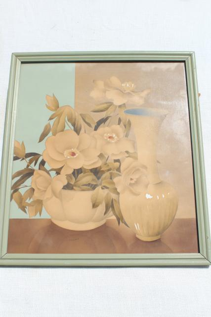 pair vintage 40s 50s framed prints, retro florals aqua & tan still life art