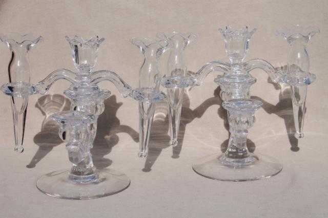 Pair Vintage Cambridge Arms Crystal Clear Elegant Glass Candelabras W Flower Vase Epergnes