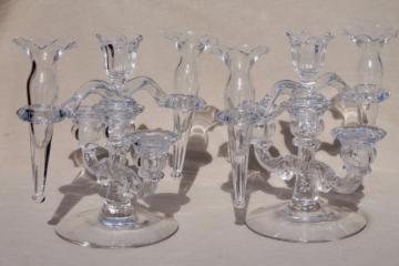 pair vintage Cambridge arms crystal clear elegant glass candelabras w/ flower vase epergnes