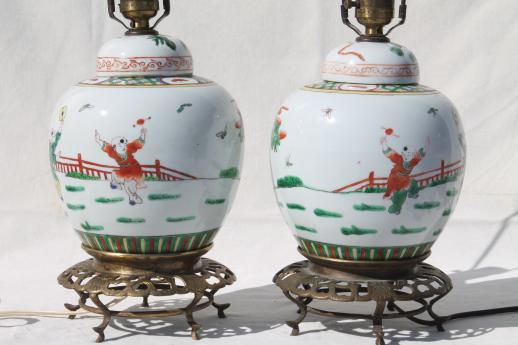 Pair Vintage Chinese Ginger Jar Lamps Painted China Urns W Ornate Br Pot Stands