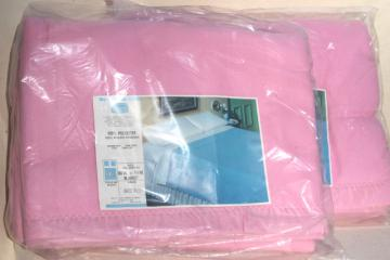 pair vintage Sears poly plush bed blankets in pink, sealed full double blanket size