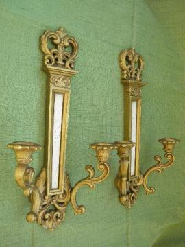 pair vintage Syroco plastic wall sconces for candles, florentine gold