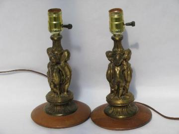 pair vintage boudoir lamps w/ faux french bronzes, art deco polished wood bases