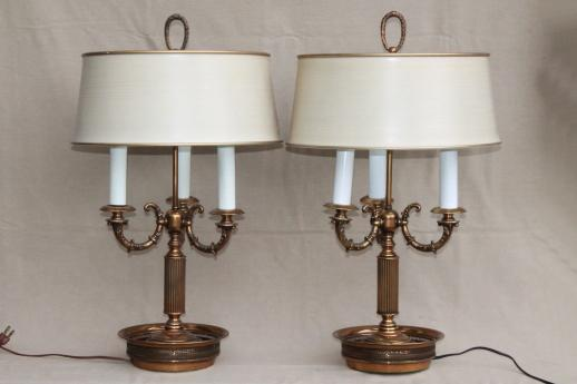 Pair vintage brass bouillotte lamps ornate candelabras w tole shades aloadofball Choice Image