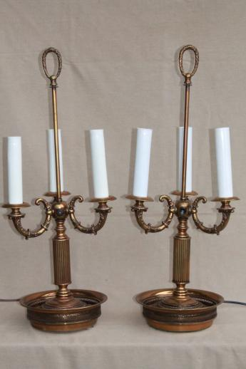 pair vintage brass bouillotte lamps, ornate candelabras w/ tole shades