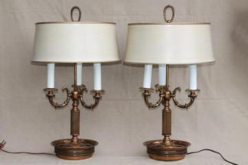antique brass lighting ceiling light pair vintage brass bouillotte lamps ornate candelabras w tole shades table lamps