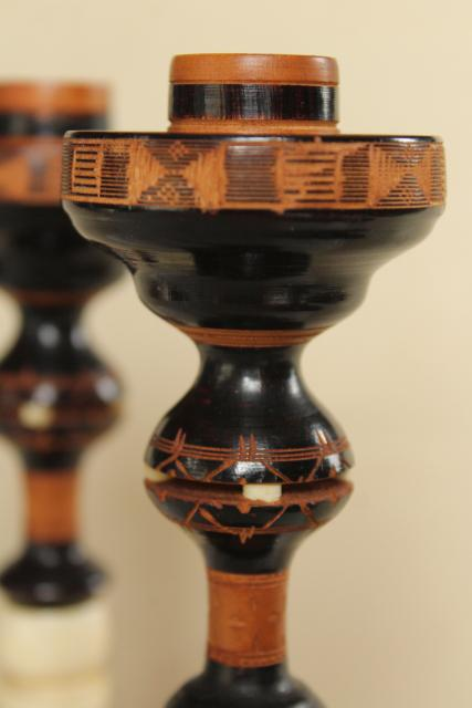 pair vintage carved turned wood and bone candlesticks, Indonesia or India