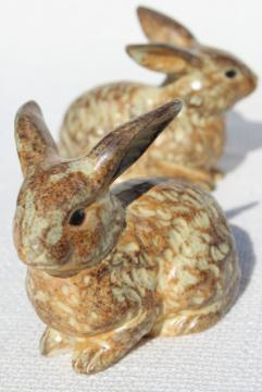 pair vintage ceramic rabbit figurines, brown bunnies marked Japan, OMC Otagiri