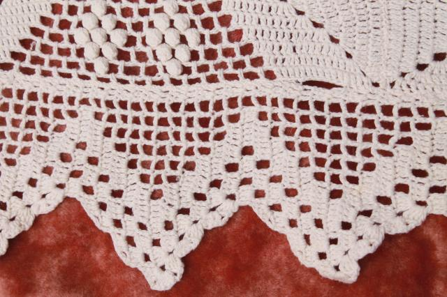 pair vintage cotton lace crochet bedspreads, farmhouse style shabby cottage chic
