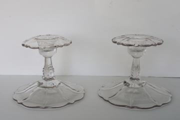 pair vintage crystal clear Cambridge elegant glass candlesticks 3900 / 67 unetched