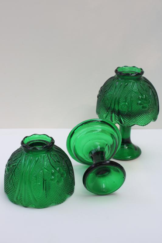 pair vintage emerald green glass candle lamps, pressed glass shade candlesticks