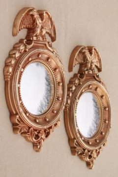 pair vintage fish eye convex bubble dome glass mirrors in classic gold federal eagle frames