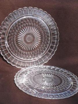 pair vintage flat plateau cake plates, tiny bubble hobnail pattern glass