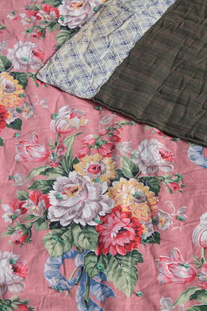 Pair Vintage Floral Print Whole Cloth Quilts Soft Puffy