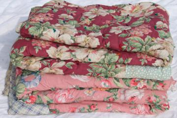 pair vintage floral print whole cloth quilts, soft puffy wool filled cotton comforters