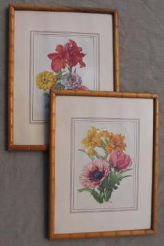 pair vintage floral prints in faux bois bamboo carved wood picture frames