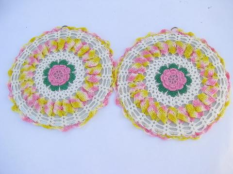 pair vintage flower crochet cotton thread hot mats, hot pads, trivets