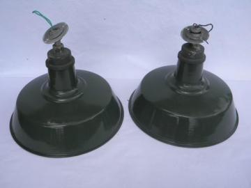 pair vintage green&white industrial enamel barn or stable lights