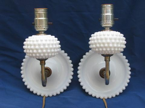 pair vintage hobnail milk glass sconces, wall mount reading lamps
