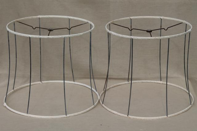 Vintage lampshade frames bare wire shades w unbleached cotton pair vintage lampshade frames bare wire shades w unbleached cotton wrapping greentooth Gallery