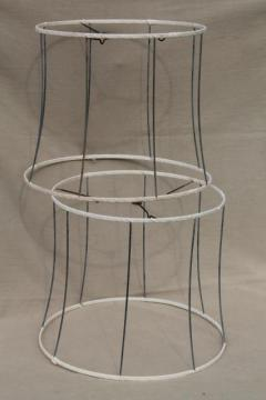 pair vintage lampshade frames, bare wire shades w/ unbleached cotton wrapping