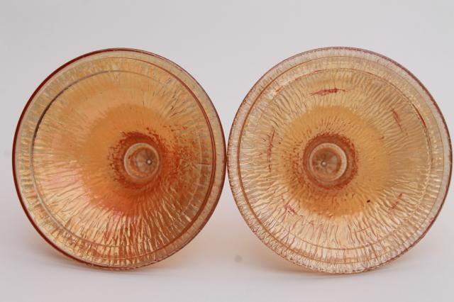 pair vintage marigold luster carnival glass jars, tree bark texture candy dish wedding boxes