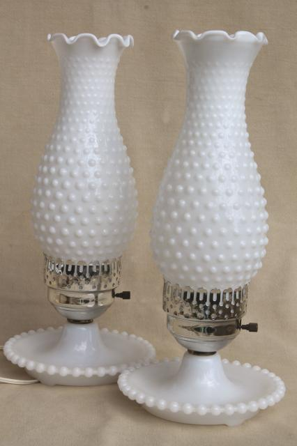 Pair vintage milk glass lamps w beaded edge lamp bases hobnail pair vintage milk glass lamps w beaded edge lamp bases hobnail glass chimney shades aloadofball Image collections