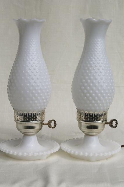 Pair Vintage Milk Glass Lamps W Beaded Edge Lamp Bases