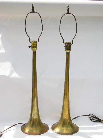 pair vintage music room lamps, antique brass trumpet horn bases