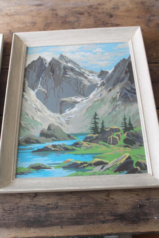 pair vintage paint by number pictures, Rocky mountains landscape scene paintings