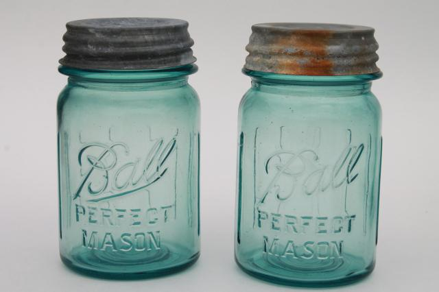 pair vintage pint size aqua blue Ball Perfect Mason jars lot, zinc lids