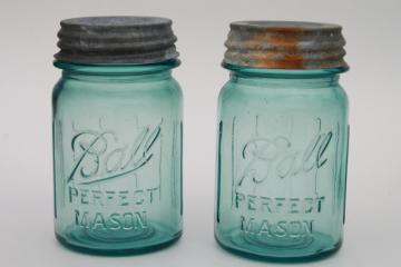 pair vintage pint size aqua blue Ball Perfect Mason jars lot, zinc lids