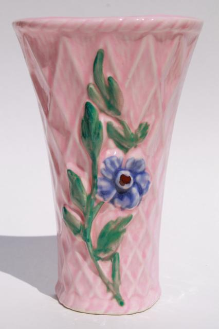 pair vintage pottery wall pockets, pretty pink flower ... on Pocket Wall Sconce For Flowers id=12066