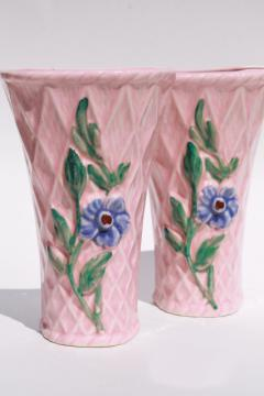 pair vintage pottery wall pockets, pretty pink flower basket wall sconce vases