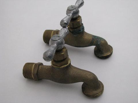 pair vintage solid brass architectural spigots/utility faucet taps
