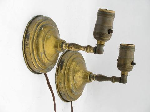 Small Wall Reading Lights : pair vintage solid brass wall sconces, small sconce lamp bedside reading lights