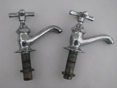 Pair Vintage Solid Brass Chrome Architectural Faucets Deco