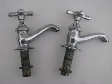 pair vintage solid brass/chrome architectural faucets deco cross taps