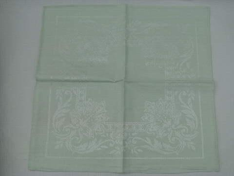 Pale Mint Green Damask Cloth Table Linens, Tablecloth And Napkins, Original  Box