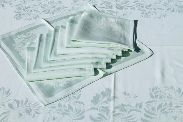 Pale Mint Green Spring Table Linens, Vintage Damask Tablecloth U0026 Napkins Set