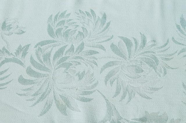 pale mint green spring table linens, vintage damask tablecloth & napkins set