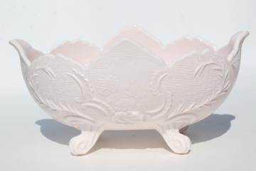 pale shell pink milk glass, 1950s vintage Jeannette Lombardi oval flower bowl