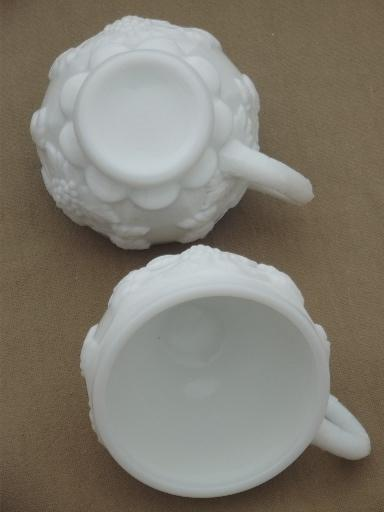 paneled grape milk glass punch cups set of 12, vintage Westmoreland
