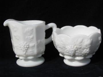 paneled grape pattern milk glass creamer & sugar set, vintage Westmoreland